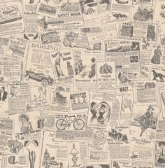 Kitchen Concepts 2 (KC28503) - Galerie Wallpapers - A kitchen wallcovering on a good quality vinyl, showing a news paper with quirky Ad's - in black,white and grey. Please request a sample for true colour match.