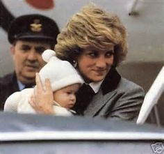 March 22, 1985: Princess Diana with Prince Harry at Aberdeen airport in Scotland.