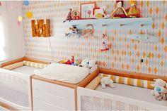 Decoracão moderna para o quarto das gêmeas