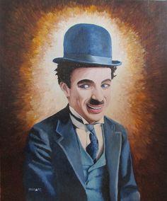 Charlie Chaplin by Peco Art ...Oil on board, 55x65cm...