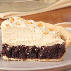 This recipe for Peanut Butter Mousse Brownie Pie has a delightful ...