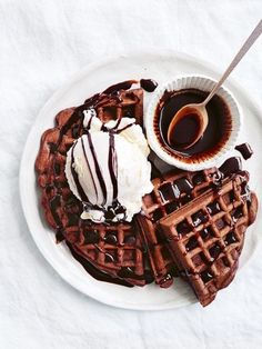 Image de food, chocolate, and waffles
