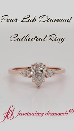 Shop pear lab diamond cathedral pear shaped engagement ring in rose gold at Fascinating Diamonds. This diamond engagement ring is designed in Prong setting Pear Shaped Engagement Rings, Engagement Ring Shapes, Three Stone Engagement Rings, Rose Gold Engagement Ring, Pear Diamond, Pear Shaped Diamond, Diamond Cluster Ring, Lab Diamonds, Funny Spanish