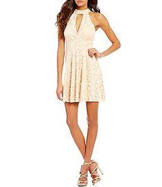 586cf7f5e6d Jodi Kristopher Sleeveless Choker Neckline Lace Skater Dress Necklines For  Dresses