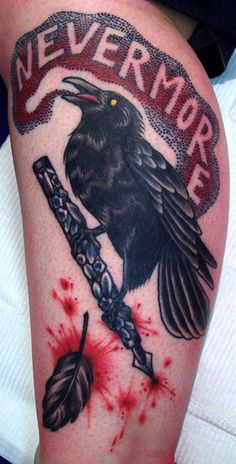 """""""Nevermore"""" – the raven stands on a pen portrayed in old school style. This time is probably suitable to a young man."""