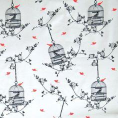 Toile enduite Cages à oiseaux néon 20 x 140 cm - Marques/Au Maison - Motif Personnel