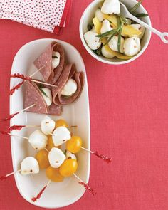 Bocconcini are just bite-size morsels of fresh mozzarella. Look for them at specialty food stores and Italian markets, as well as many supermarkets; they're usually packaged in water or whey for freshness. Match these marinated bocconcini with sliced salami, grape tomatoes, pitted olives, or cantaloupe balls.
