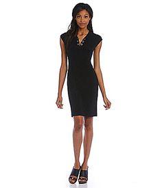 Calvin Klein Hardware Detail Sheath Dress #Dillards