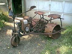 I think this one used to be a John Deere L series lawn tractor. Yard Tractors, Small Tractors, John Deere Tractors, Antique Tractors, Vintage Tractors, Vintage Farm, Homemade Tractor, Tractor Implements, Old Farm Equipment