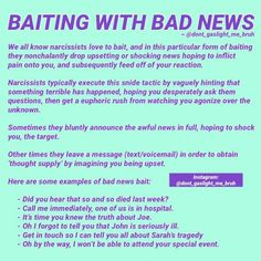 Baiting with bad news (narcissists) Narcissistic Supply, Narcissistic People, Narcissistic Mother, Narcissistic Behavior, Narcissistic Abuse Recovery, Narcissistic Sociopath, Narcissistic Personality Disorder, Disorders, Frases