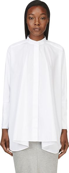 Maison Margiela for Women Collection White Silk Blouse, Tailored Shirts, Simple Shirts, Cozy Fashion, White Shirts, Summer Shirts, White Tops, Bunt, Blouses For Women