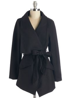 Preferred Pairing Coat in Black - Long, Woven, Black, Pockets, Belted, Minimal, Long Sleeve, Fall, Variation, 3