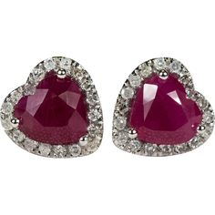 Heart Ruby Diamond Stud Earrings Gold Screw Back Diamond Halo Ruby Heart Studs - found on Ruby Lane Heart Jewelry, Heart Earrings, Gemstone Jewelry, Stud Earrings, Art Deco Earrings, Vintage Earrings, Vintage Jewelry, Diamond Studs, Halo Diamond