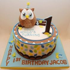 Owl cake for my friends little boys first birthday The owl was