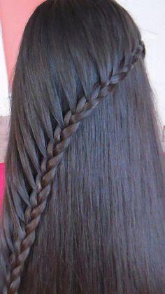 Plait Side With Loose Hair / Sideways Braid Loose Hairstyles, Trendy Hairstyles, Girl Hairstyles, Braided Hairstyles, Straight Brunette Hair, Simple Ponytails, Braided Ponytail, Braid Hair, Hair Care
