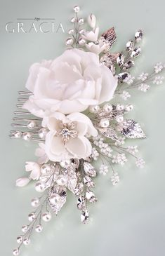 ROSE Floral Hair Accessories White Bridal Hair Flower Comb With Rhinestones by TopGracia #topgraciawedding #bridalhairaccessories #bridalhairflower #wedinghairflower