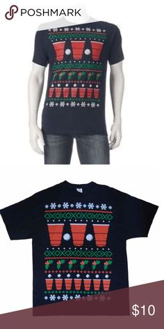 Christmas Beer Pong Tee Brand new with tags. Size small in men's, medium for women. 100% cotton. Crewneck. Short sleeve. More pics and details coming soon! Tags: holiday ugly Christmas sweater shirt tshirt Top blouse party Red cup mistletoe snowflake pixel unisex Holiday Party Shirts Tees - Short Sleeve