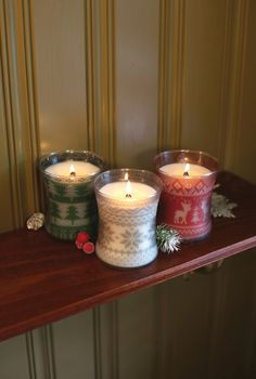 Świece świąteczne  / Christmas candles Wood Wick Frasier Fir, Cinnamon Chai, Mint Truffle