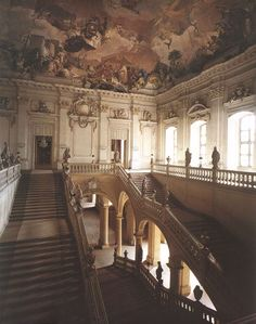 Würzburg Residence Fresco by Giovanni Battista Tiepolo of the Republic of Venice. Largest fresco in the world. Architecture by Johann Balthasar Neumann of Cheb, Bohemia, Holy Roman Empire. Baroque Architecture, Beautiful Architecture, Beautiful Buildings, Beautiful Places, Building Architecture, Architecture Design, Travel Aesthetic, Aesthetic Art, Aesthetic Pictures