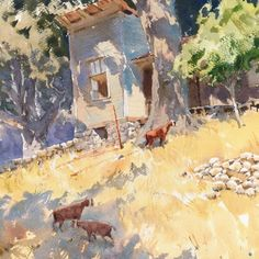 """Mike Kowalski on Instagram: """"Even more hoofed mammals. This large watercolor ( 22 x 14 ) was based on a smaller plein air painting at Sonoma Plein Air.…"""" Watercolor Sketchbook, Watercolor Artwork, Watercolor Landscape, Landscape Paintings, Gouache, Dream Anime, Painting Workshop, Winter Garden, Art Pictures"""