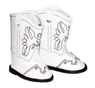 White Cowgirl Boots for 18 inch American Girl Doll