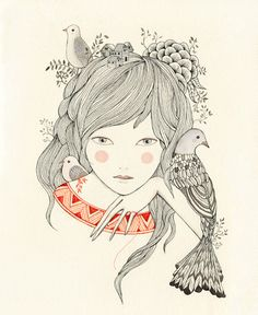Delicately drawn and painted doe-eyed maidens with birds in their hair, are just some of the gorgeous motifs within her work. Art And Illustration, Illustration Mignonne, Illustrations Posters, Sketch Manga, Arte Sketchbook, Art Design, Painting & Drawing, Cool Art, Art Drawings