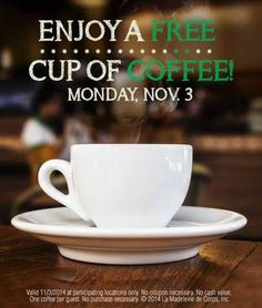 Saving 4 A Sunny Day: Free Cup Of Coffee Today