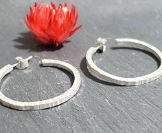 Check out this item in my Etsy shop https://www.etsy.com/listing/568601271/minimalist-silver-hoop-earrings-hammered