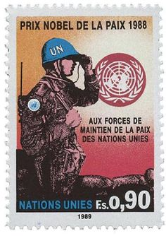 United Nations, Postage stamp commemorating the Nobel Peace Prize to the U. United Nations Day, United Nations Peacekeeping, Alfred Nobel, World Weather, Nobel Prize Winners, Going Postal, Nobel Peace Prize, Vintage Stamps, Stamp Collecting