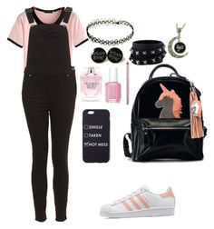"""""""Overalls contest"""" by littlebodybigheart123 ❤ liked on Polyvore featuring adidas Originals, Valentino, Victoria's Secret, Essie, Urban Decay, TrickyTrend and overalls"""