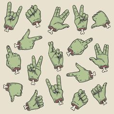 """Zombie Hands"" by @deniart_ on #Society6  SOCIETY6.COM/DENIART  #artprint #s6art #zombiehands #hands #zombie #horror #popculture #pattern"