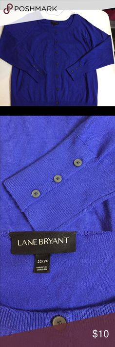 Lane Bryant Size 22/24 Royal Blue Cardigan Sweater Pre-owned in excellent condition is this pretty royal blue cardigan from Lane Bryant in size 22/24.  It is 70% rayon and 30% nylon.  Machine wash cold and tumble dry on low.  Shoulder to hem is 30 inches.  Underarm to underarm is 24 inches.  Underarm to end of sleeve is 20 inches.  There are 3 buttons on each sleeve cuff if you need a looser fit. Lane Bryant Sweaters Cardigans