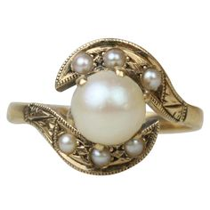 1stdibs | Art Deco Egyptian Revival Gold and Pearl Ring