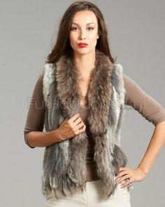 Rabbit Fur Knitted Vest with Raccoon Fur Trim - Grey