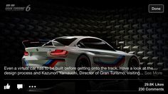 BMW use their social media side to promote more of the elegance behind design, as well as a range of extremely swanky cars at various car shows and festivals across the world! The post featured shows a virtual car featured in the video game 'Gran Turismo 6' and invites the viewer to look behind the scenes at the product design.