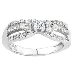 Elora 14k White Gold 3/5ct TDW Round Diamond Engagement Ring (H-I, I1-I2) (Size 10), Women's, Silver