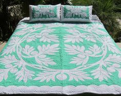 Hawaiian Quilt Palm Leaf Forest Green Full Size by PalamaImports