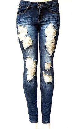 ETERNO Juniors WOMENS BLUE Denim JEANS Destroy Skinny Ripped Distressed Pants (5)