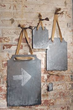 Zinc Rectangles with Jute Ribbon by Vagabond Vintage - another option for hanging but would prefer a darker sign. Hanging Chalkboard, Large Chalkboard, Chalkboard Paint, Chalkboard Signs, Chalkboard Ideas, Chalkboard Writing, Magnetic Chalkboard, Jute, Chalk It Up