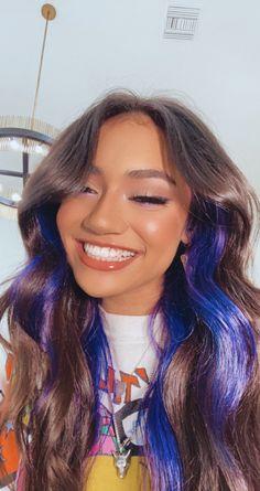 Hair Color Streaks, Hair Color Purple, Hair Dye Colors, Cool Hair Color, Hair Highlights, Coloured Highlights, Peekaboo Hair Colors, Blonde Streaks, Purple Highlights