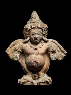 Garuda, first half of the 7th century. Western Thailand. Lent by National Museum, Bangkok (1406/2504) | The mythical human-bird Garuda is intimately associated with Vishnu, serving as the god's celestial vehicle, and he also has a generic function as a defender of faith. At the Buddhist site of Khu Bua, Garuda must be understood as a protector of the Buddha and the Buddha's dharma. #LostKingdoms