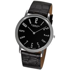 Elevate your look with this black Stuhrling mens watch. This durable watch is an excellent combination of style and practicality. The leather strap is comfortable, while the white Arabic numerals set on a black dial are easy to read.