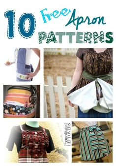 10 Free Apron Patterns - Save money and protect your clothing while cooking by making an apron using one of these free apron patterns.