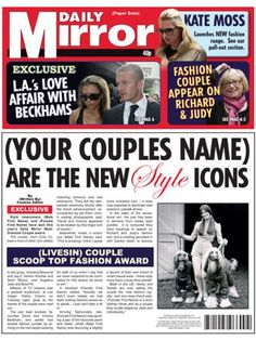 personalised spoof newspaper for your paper wedding anniversary