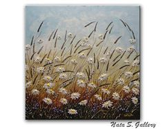 """Peinture de fleurs sauvages, texturé peinture abstraite, acrylique sur toile, Art couteau à Palette, empâtement, prêt à expédier grand Art 30 """"x 30"""" par Nata S."""