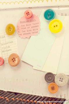 Ahh, the things you can do with buttons!  Make them magnetic! ;)  ~and a few more DIY ideas~