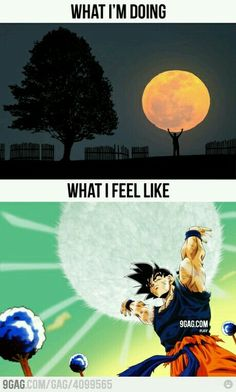 """SO true… except I was also felt like I had just turned Super Saiyan, become the first female SS ever, and was staring at Vegeta's """"OMG"""" face. Best not-real-but-in-my-dreams-so-leave-me-alone-Mom time of my life. Chrono Trigger, Akira, Goku, Nagoya, Manga, Dbz Memes, Funny Memes, Great Saiyaman, Dragon Super"""