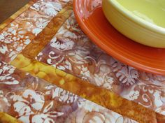 Quilted Placemats  Orange Gold Brown Batik by QuiltinWaYnE on Etsy