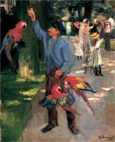 'Man with parrots', Max Liebermann ....Impressionism