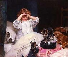 """""""Early Risers"""" or """"The Invaders"""" 1890 -- by Arthur John Elsley (1860 – 1952, English) [Note: iamachild.wordpress.com lists this painting as """"Playtime,"""" a title used in conjunction with other Elsley works. I've featured two titles applied solely to this painting. I don't have the knowledge of art history to know if one is the most correct.]"""